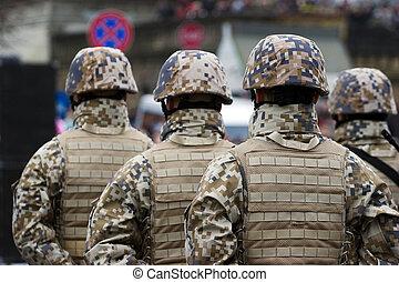 soldaten, stoet, militair