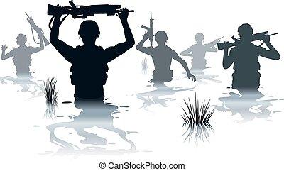 soldaten, wading