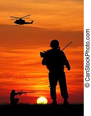 soldater, hos, krig