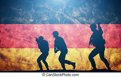 soldater, ind, angribe, på, tyskland, flag., tysk hær, militær, concept.