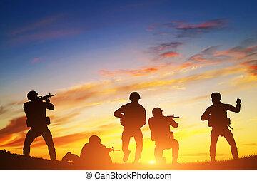 soldater, ind, assault., krig, hær, military.