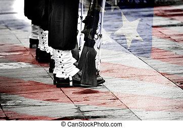 soldater marschera, hos, borrar, med, flagga