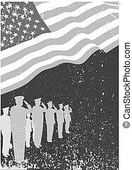 soldati, bandiera, saluting., stati uniti