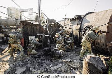 soldati, pianta, gruppo, rende incapace