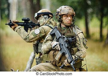 soldati, ricognizione, squadra