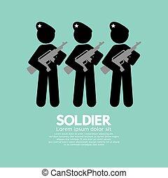 soldati, simbolo, vettore, pistole, illustrazione