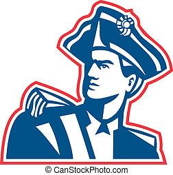 soldato, americano, patriota, busto, retro