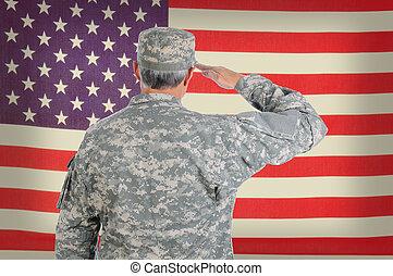 soldato, americano, vecchio, bandiera, fare il saluto militare