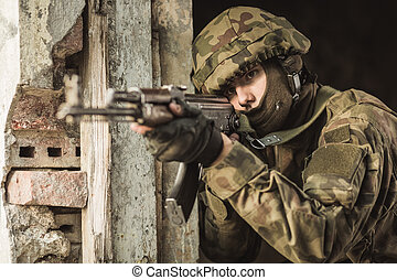 soldato, arma, sparo