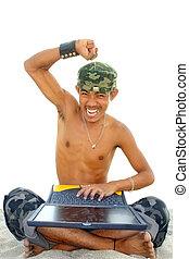 soldato, laptop, asiatico