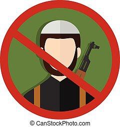 soldato, proibito, terrorista, segno, silhouette.
