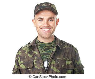 soldato, sorridente, esercito