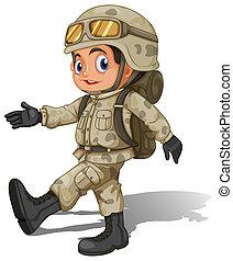 soldato, sorridente, giovane