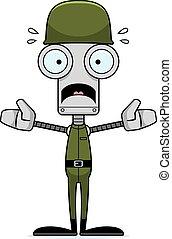 soldato, spaventato, cartone animato, robot