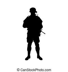 soldato, vettore, silhouette.