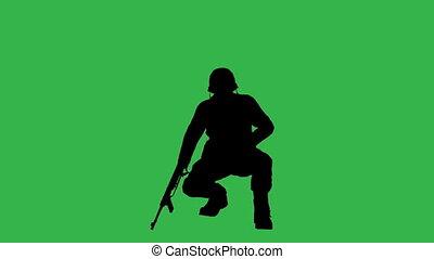 soldats, écran, vert