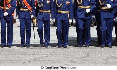 soldats, 2, marcher