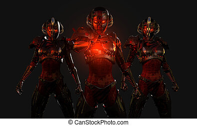 soldats, cyborg, avancé