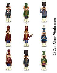soldats, jouet, dessin animé, icône