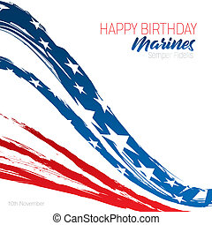 soldats marine, anniversaire, heureux