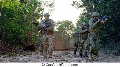soldats, pendant, vue, militaire, formation, 4k, devant