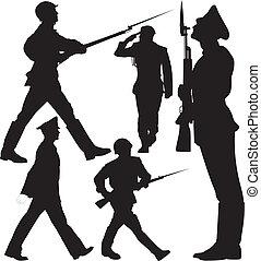 soldats, silhouettes, vecteur
