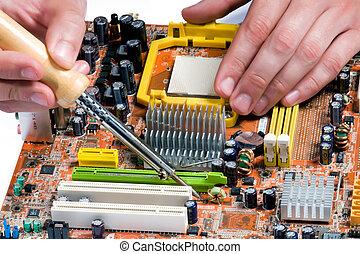 Soldering a circuit board - Process of repair of the ...