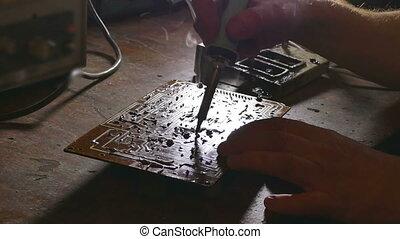 soldering Iron - old man technician retro radio solder iron...