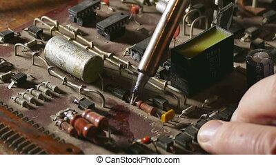 soldering Iron - old man retro radio technician solder ...