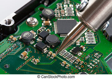 soldering, microcircuito, tiro, estúdio, ferro