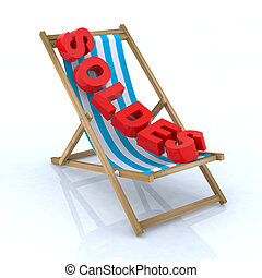 soldes, chaise, plage, écrit