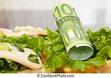soldi, a, colazione
