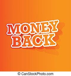 soldi, adesivo, indietro