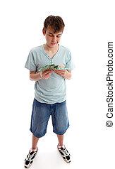 soldi, adolescente, suo, conteggio