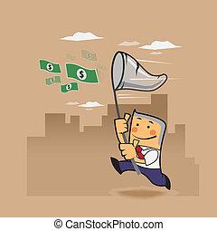 soldi, affari, presa, uomo, aria