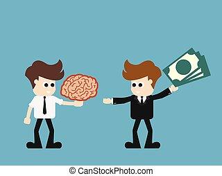 soldi, affari, uomo affari, idea., scambio, vettore, cartone...