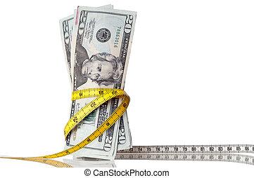 soldi american, con, uno, metro a nastro, intorno, il