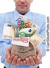soldi, banconote, borsa, mani, uomo affari, euro