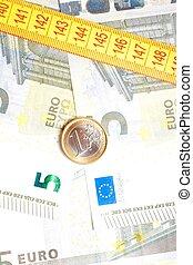 soldi, banconote, metro a nastro, moneta, euro