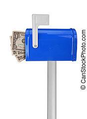 soldi, bandiera, cassetta postale