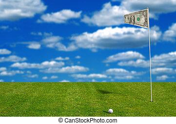 soldi, bandiera, palla, golf