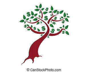 soldi, bianco, albero, fondo