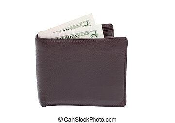soldi, bianco, borsellino, isolato, fondo.