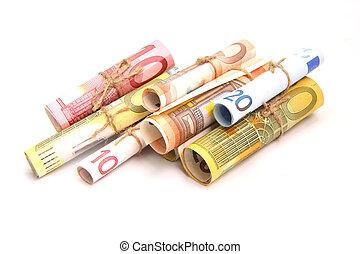soldi, bianco, isolato, fondo, euro
