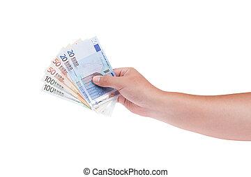 soldi, bianco, isolato, fondo, mano