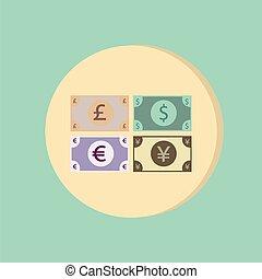 soldi, bill., simbolo, icona, dollaro, sterlina, yen...