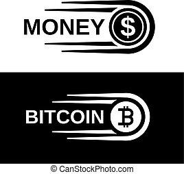 soldi, bitcoin, movimento veloce, vettore, linea, moneta