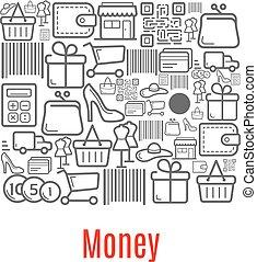 soldi, borsellino, vendita dettaglio fa spese, icone