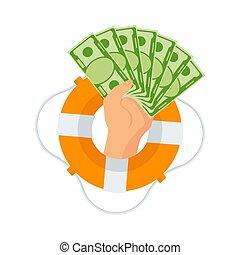 soldi, buoy., protrudes, sacco mano, vita