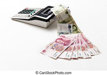 soldi, calcolatore, porcellana, effetti, essere sorteggiato